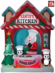 9 1/2' Gemmy Airblown Inflatable Santa's Kitchen Scene