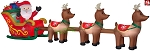 16' Gemmy Airblown Inflatable Colossal Santa In Sleigh w/ 3 Reindeer