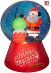 5 1/2' Gemmy Airblown Inflatable Christmas Santa Claus On Rooftop Scene SNOWFLURRY Snow Globe