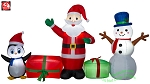 9' Gemmy Airblown Inflatable Santa & Snowman & Penguin Collection Scene