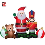 7' Gemmy Airblown Inflatable Santa and Toy Scene