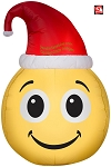 3' Gemmy Airblown Inflatable Smile Emoji with Santa Hat