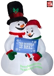 10' Gemmy Airblown Inflatable Snowman Couple w/ Banner