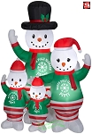 7' Gemmy Airblown Inflatable Snowman Family Pajama Scene
