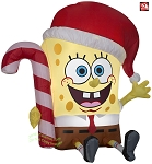 3' Gemmy Airblown Inflatable Christmas SpongeBob SquarePants Wearing Santa Hat Holding Candy Cane