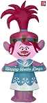 4' Gemmy Airblown Inflatable Troll's Queen Poppy in Christmas Outfit w/ Banner