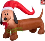 4' Gemmy AirBlown Inflatable Weiner Dog w/ Santa Hat