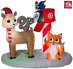 6' Airblown Inflatable Woodland Animals Mailbox Scene