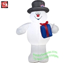 3 1/2' Frosty The Snowman Holding A Present