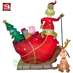 12' Gemmy Airblown Inflatable Colossal Grinch In Sleigh w/ Max
