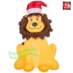6' Gemmy Airblown Inflatable FURRY Lion Wearing Santa Hat