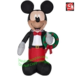 6' Mickey Mouse Holding A Christmas Wreath