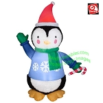 6' Gemmy Airblown Inflatable Mixed Media Fuzzy Plush Penguin Wearing Santa Hat