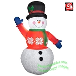6' Gemmy Airblown Inflatable Mixed Media Fuzzy Plush Snowman Red Sweater