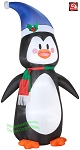 7' Penguin Wearing Blue Hat & Red/Green Scarf