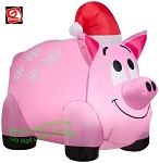 3' Gemmy Airblown Inflatable Christmas Snowflakes Pig Wearing Santa Hat