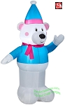 4' Polar Bear Wearing Blue Winter Outfit