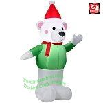 4' Polar Bear Wearing Green Sweater & Santa Hat