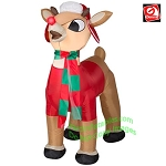 3 1/2' Gemmy Airblown Inflatable Rudolph Standing Wearing Winter Gear