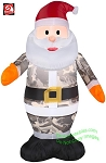 3 1/2' Gemmy Airblown Inflatable Santa In Camo Outfit Wearing Orange Mittens