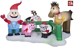 9' Santa Claus Christmas Farm Scene
