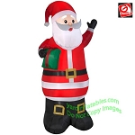 6 1/2' Gemmy Airblown Inflatable Santa Holding Green Present
