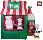7 1/2' Gemmy Airblown Animated Inflatable Santa Claus North Pole Taffy Stand Scene