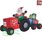 8 1/2' Gemmy Airblown Inflatable Santa on Tractor w/ Presents Scene