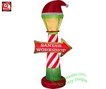 7' Santa Workshop Lamp Post Sign