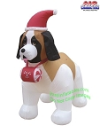 7' Air Blown Inflatable St. Bernard Wearing Santa Hat