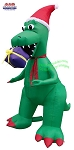 7' Air Blown Inflatable Green T-Rex Biting A Present
