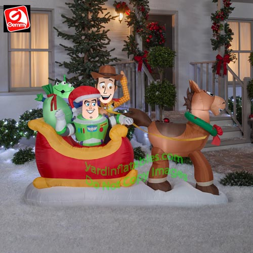 Christmas Inflatable.8 Gemmy Airblown Inflatable Toy Story Bullseye Pulling Sleigh W Woody Buzz Pizza Planet Alien
