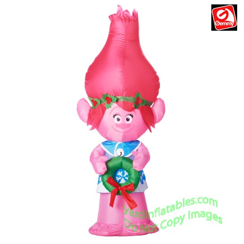 5' Gemmy Airblown Inflatable Troll POPPY Holding Wreath