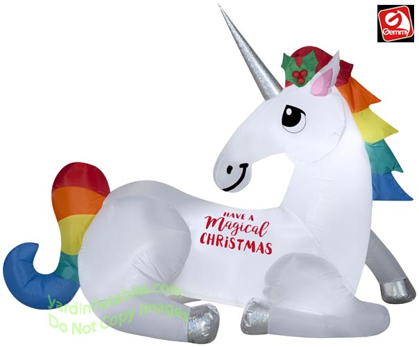 Gemmy Christmas Inflatables 2019.6 Airblown Inflatable Magical Christmas Unicorn