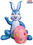 6' Air Blown Inflatable Blue Bunny w/ Pink Egg