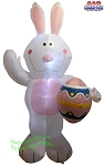 7' Air Blown Inflatable White Easter Bunny Holding Egg