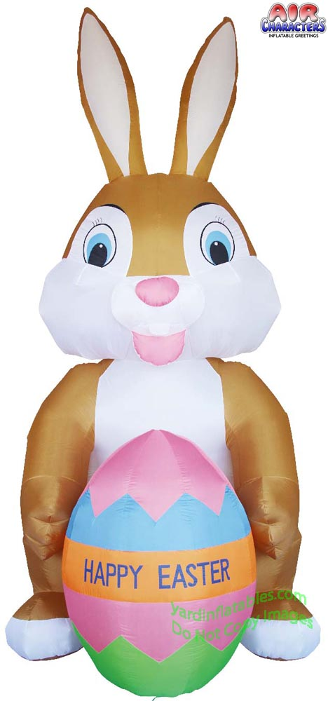12' Air Blown Inflatable Brown Easter Bunny w/ Easter Egg