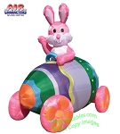 7' Air Blown Inflatable Pink Easter Bunny Egg Car Big Wheels