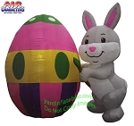 6' Air Blown Inflatable Easter Bunny Painting Egg