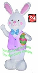 4' Gemmy Airblown Inflatable Easter Bunny Pink Vest Holding Egg