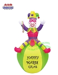7' Air Blown Inflatable Mardi Gras Pink Jester On Ball