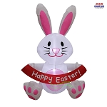 5' Air Blown Inflatable Easter Bunny w/ Happy Easter Banner