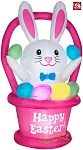 6' Gemmy Airblown Inflatable Pink Easter Bunny in Egg Basket Scene