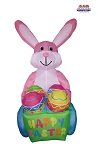 8' Air Blown Inflatable Easter Bunny Pushing Egg Cart