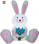 5' Gemmy AirBlown Inflatable Easter Bunny Holding 2 Blue Flowers