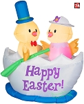 5' Air Blown Inflatable Easter Chicks in Easter Egg Boat Scene