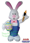 7' Air Blown Inflatable Standing Bunny Holding Egg And Paint Brush