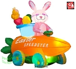 4 1/2' Gemmy Airblown Inflatable Easter Bunny In A Speedster Carrot Car