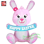 3 1/2' Gemmy Airblown Inflatable PINK Bunny Holding
