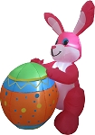 4' Air Blown Inflatable Pink Bunny Holding Easter Egg